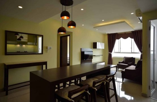 Tropic Garden Apartment For Rent With Cheap Rental And Dark Wooden Furniture